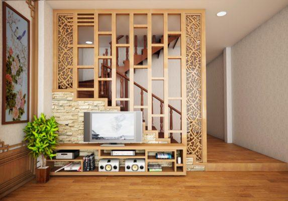 vách ngăn gỗ cầu thang gỗ